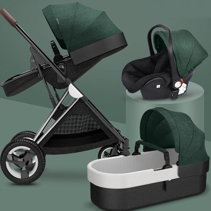 New Baby stroller 3 in1,four wheels stroller,2 in 1 baby car,kinderwagen Foldable newborn baby carriage,High landscape strollers