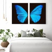 WTQ     affiche Murale avec aile de papillon bleue  toile de peinture  decor retro  affiche dart mural nordique  decor de salle de maison