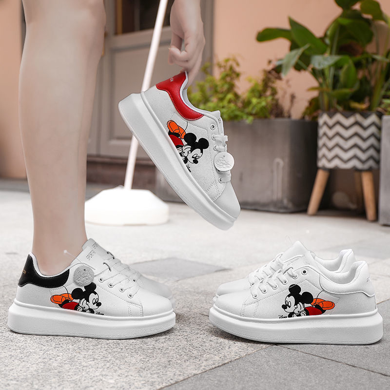 Disney white shoes men and women all-match Korean version of the thick-soled net red Mickey sponge cake sneakers enlarge