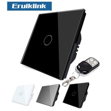 Eruiklink EU/UK Standard 1 Gang 2 3 Gang 1 Way interruptor de luz de pared, RF433 Control remoto interruptor de pantalla táctil inteligente para el hogar