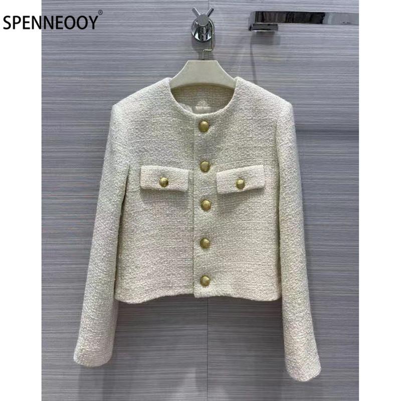 SPENNEOOY مصمم العلامة التجارية الخريف الأبيض تويد جاكيتات معطف المرأة Vintage طباعة الجاكار بطانة واحدة الصدر أبلى