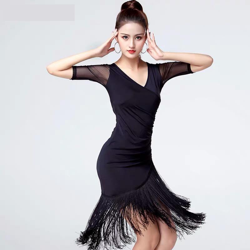 Dança latina borla vestido de treinamento feminino adulto verão salão tango salsa rumba traje
