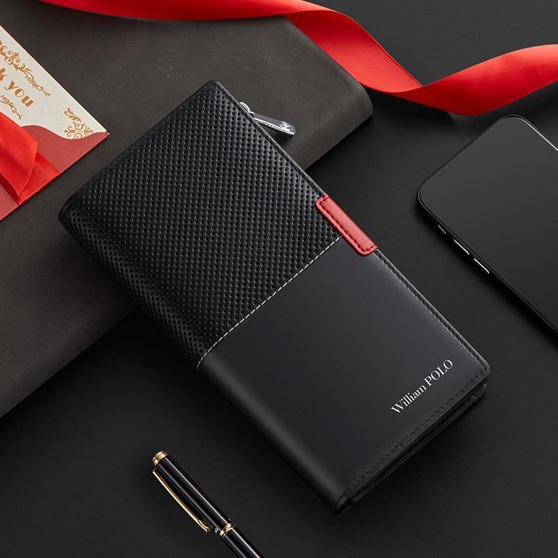 Brand genuine leather wallet mobile phone bag high grade purse multi function card holder coin purse zipper men's long handbag