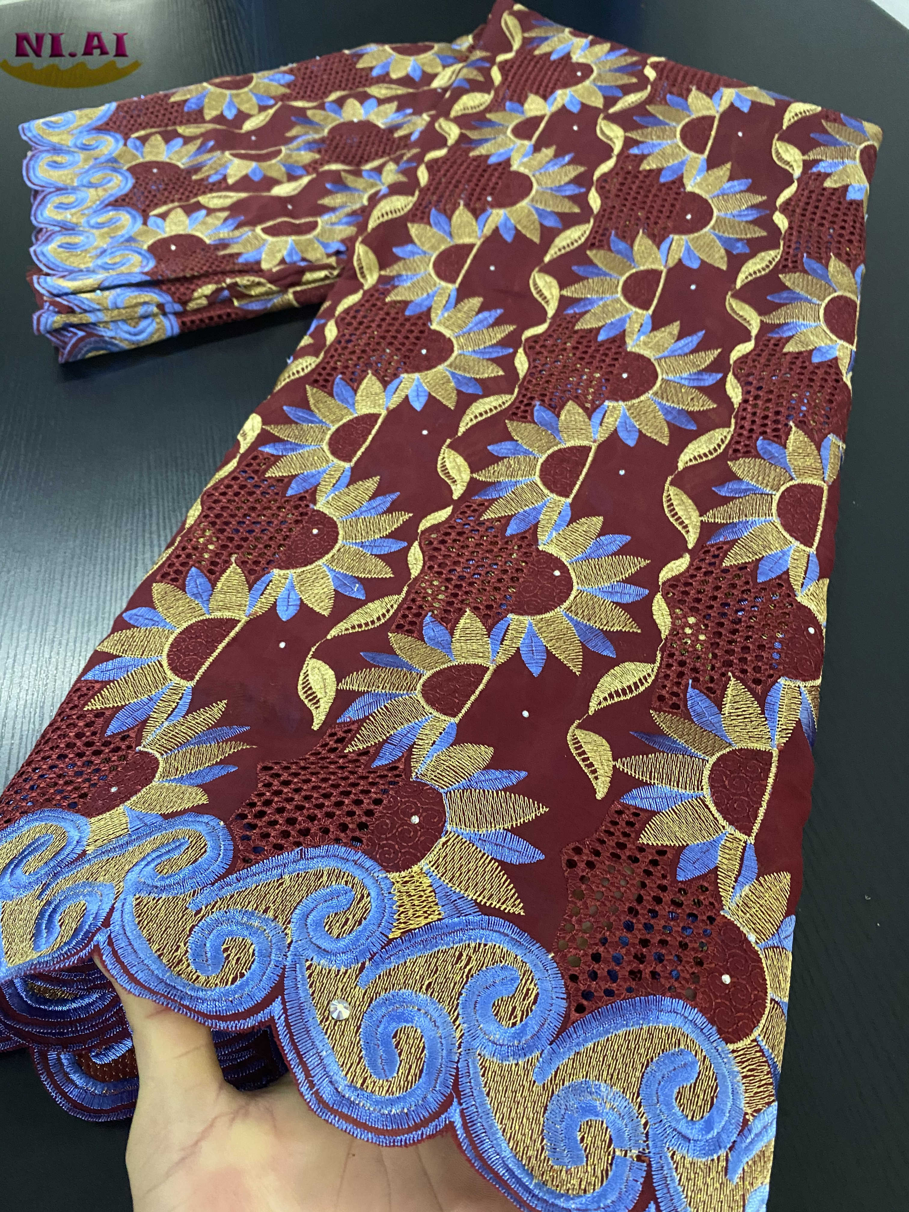 NIAI, 100% africana, tela de encaje de algodón, el último encaje de gasa suizo en Suiza con piedras para XY3377B-2 de costura de vestido de boda
