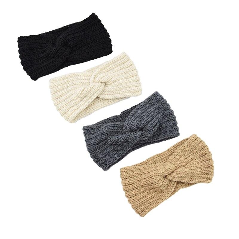 Elastic Headband Hair Solid Color Crochet Knitting Woolen Hairband Weaving Cross Handmade DIY Hair b