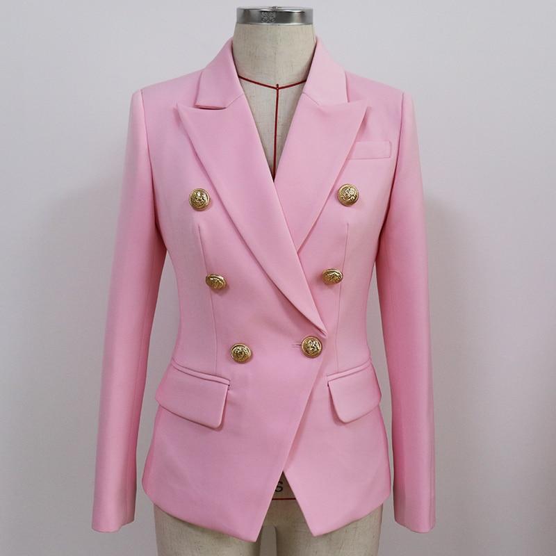 2021 New Fashion Designer Blazer Women's Slim Fitting Metal Lion Buttons Double Breasted Blazer Jacket Baby Pink