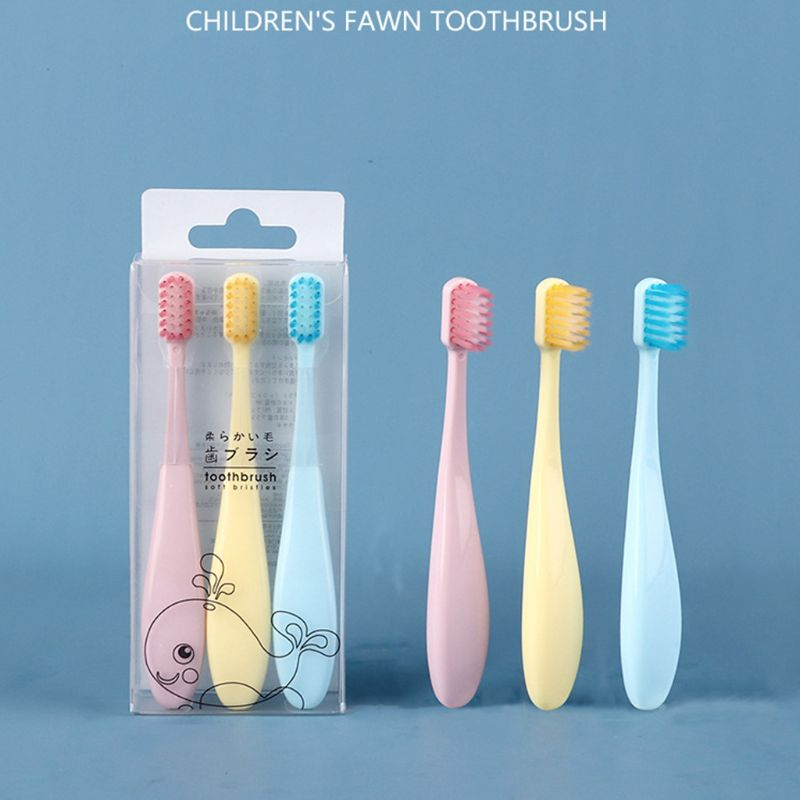 3Pcs/Set Sweet Candy Color Children Toothbrush Non-Slip Fatty Handle Small Head Soft Bristle Kids Training Tooth Brush Oral Care