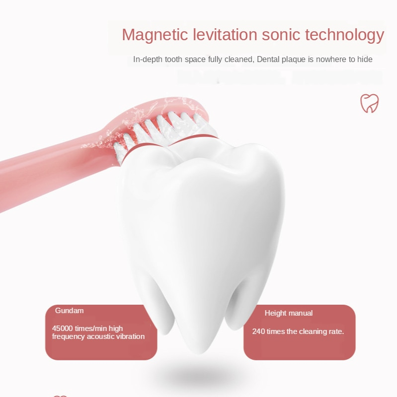 Electric Toothbrush USB Charging Ultrasonic Vibration Portable Soft Hair Smart Reminder Home Heads Six Speed Adult Deep Cleaning enlarge