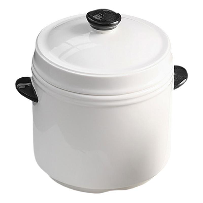 1 قطعة إناء عميق السيراميك مقابض مزدوجة و يغطي وعاء الحساء مقابض مزدوجة السلطانية أدوات المطبخ والمطبخ اكسسوارات