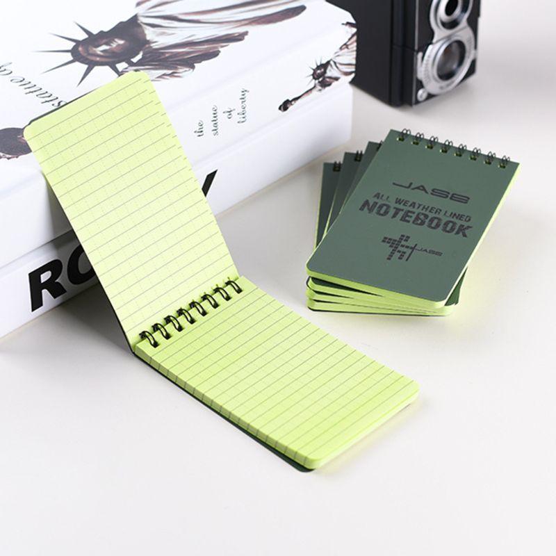 Cuaderno táctico verde a prueba de agua para todo clima, cuaderno de notas de papel de escritura para actividades militares al aire libre, suministros escolares y de oficina C26