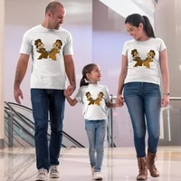 disney cute chip and dale print family matching clothes fathermom and kids summer streetwear cartoon kawaii girl boy tops tee