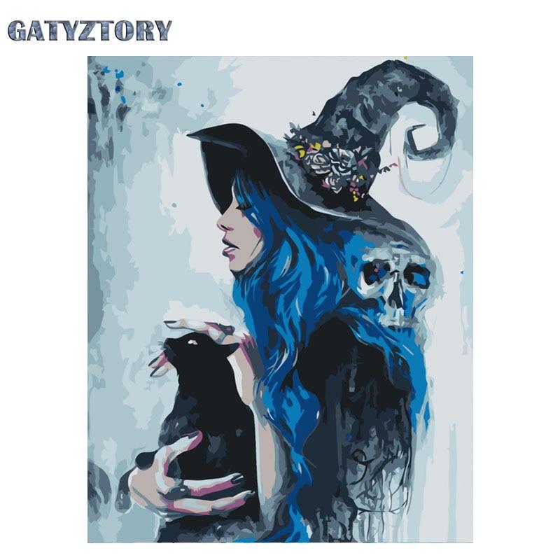 Pintura acrílica sin marco por números cuadro Digital para decoración del hogar GATYZTORY de NumbersAnime witch DIY