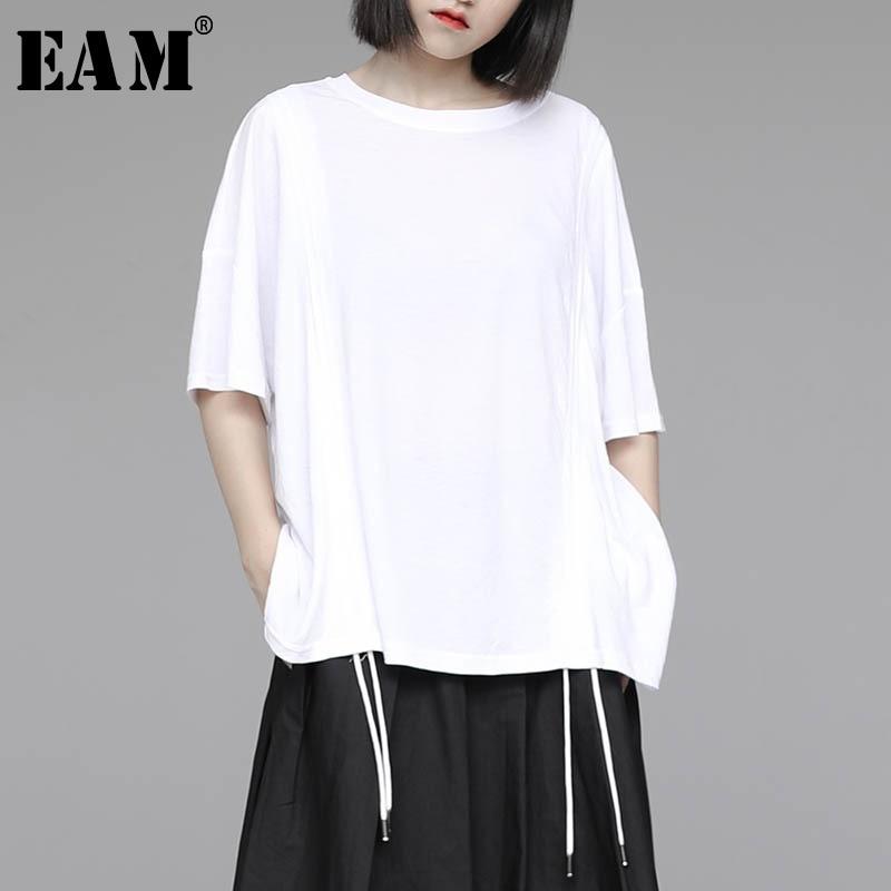 [EAM] camiseta blanca negra con cordón de ventilación de talla grande para mujer, nueva camiseta de media manga con cuello redondo, tendencia de moda Primavera Verano 2020 1W401