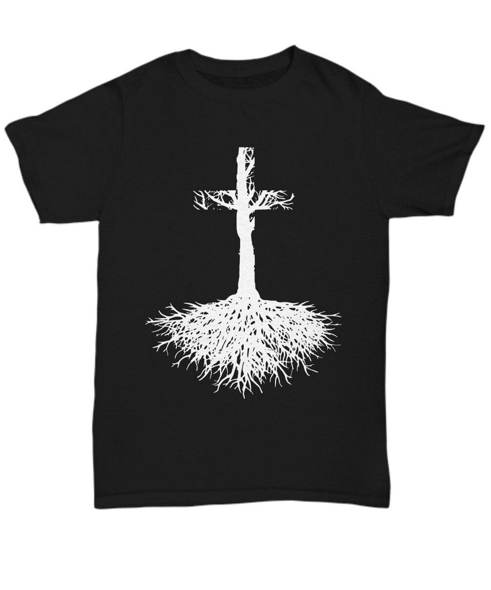 Camiseta de la fe de la raíz cristiana y la cruz cree en la camiseta Unisex de Jesucristo regalos camiseta divertida