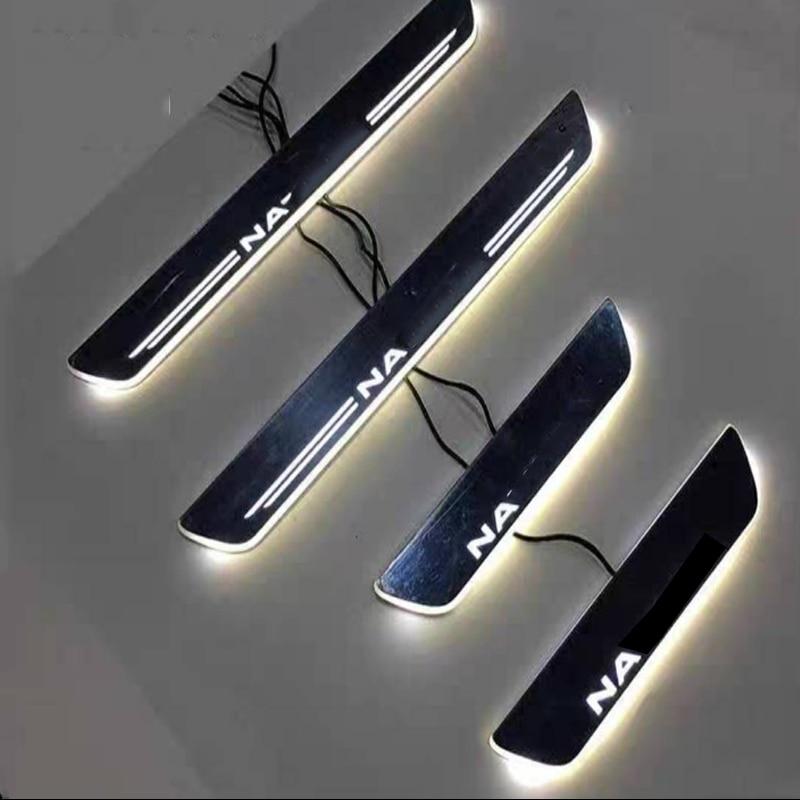 4 pièces acrylique mobile LED bienvenue pédale voiture éraflure plaque pédale porte seuil voie lumière pour NISSAN NAVARA NP300 2015-2020