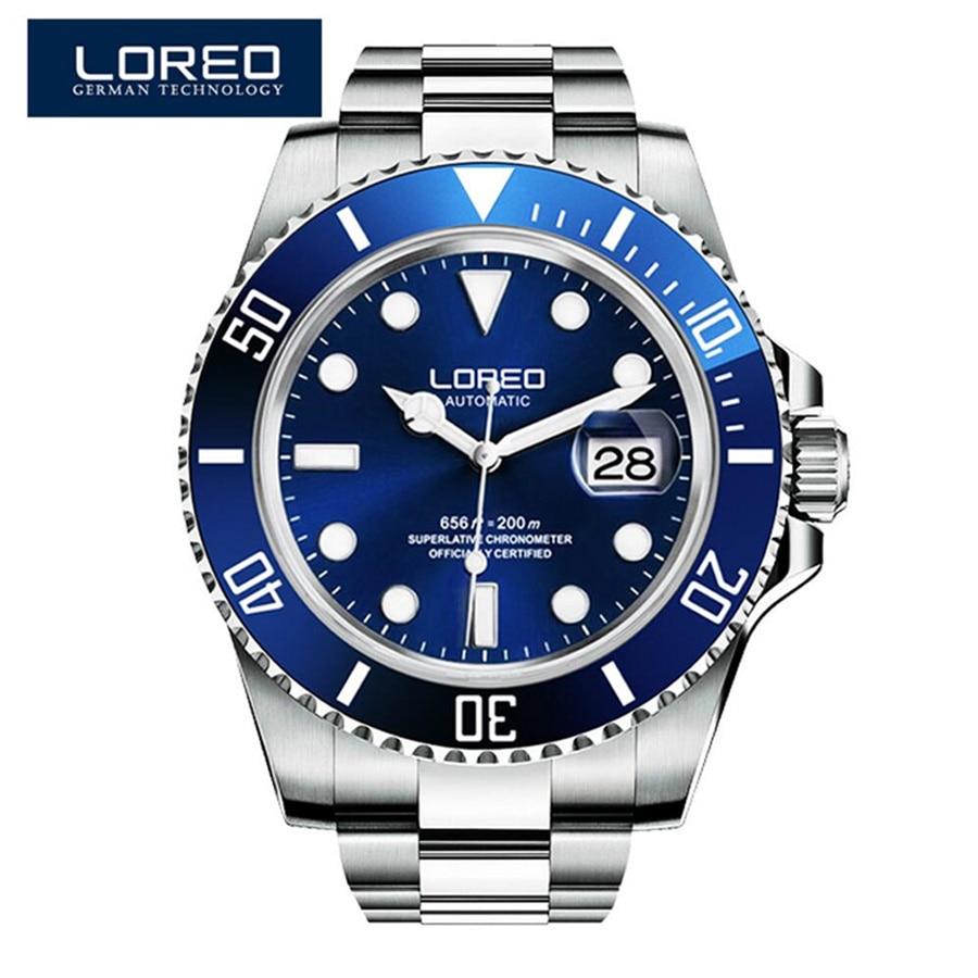 LOREO Sports Diving Men's Mechanical Watch Sapphire Blue Dial Calendar 200M Waterproof Luminous Generous Fashion Men's Watch