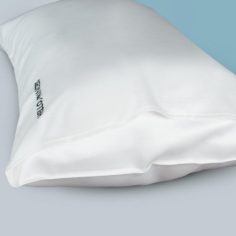 1 قطعة 22 مللي متر النقي الأبيض المطرزة الحرير المخدة 74x48cm100 ٪ التوت الحرير المخدة للشعر والجلد وسادة يغطي