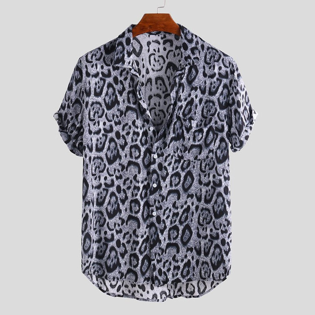 Men Casual Blouse Leopard Print Short Sleeve Shirts New Male Holiday Beachwear Shirt Man Loose Turn Down Collar chemise Tops