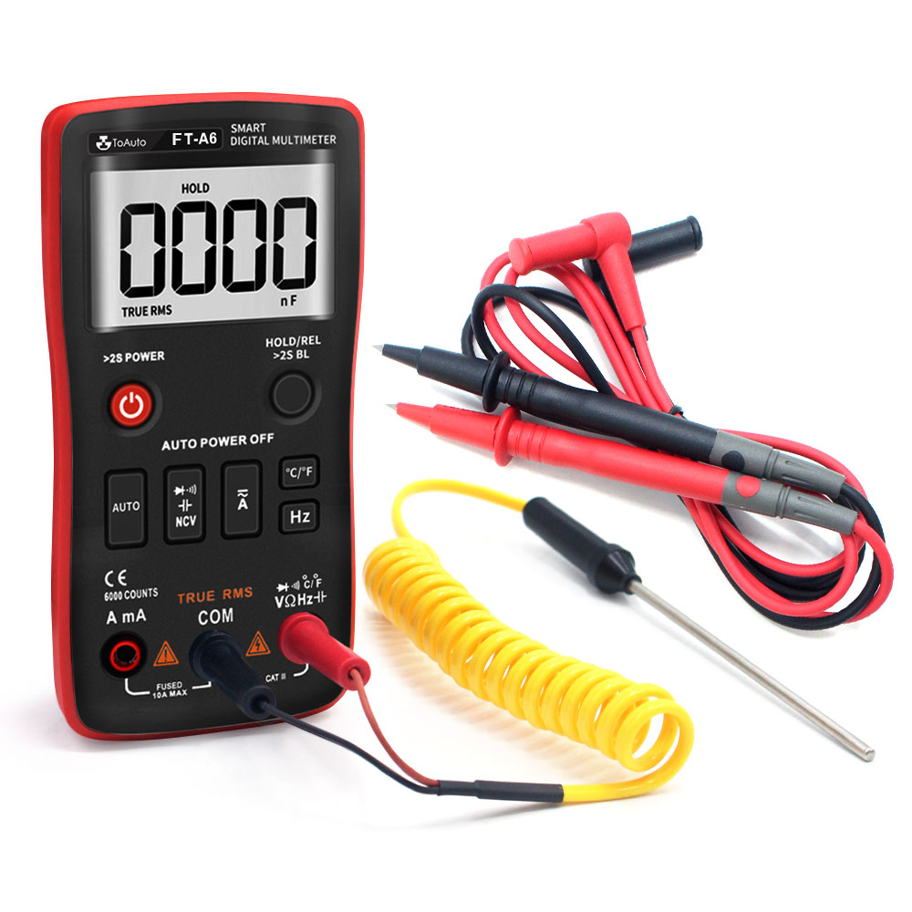 Digital Multimeter, TRMS 6000 Counts Multi Tester Counter Auto-Ranging, Measure Voltage Current Resistance Capacitance Diode