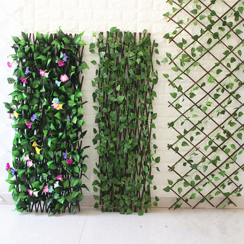 Выдвижной искусственный садовый забор, искусственный забор из листьев, домашнее украшение, садовый забор, выдвижной садовый экран