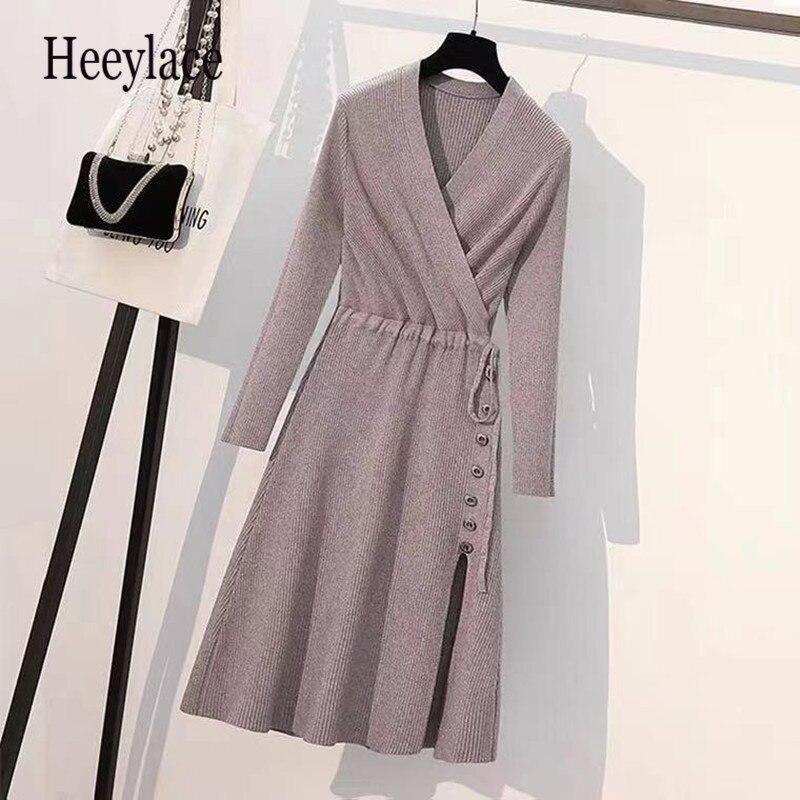 حجم كبير فستان منسوج 2021 الخريف المرأة الخامس الرقبة طويلة الأكمام الصلبة سترة فستان عالية الجودة سيدة مربوط محبوك منتصف طول فستان