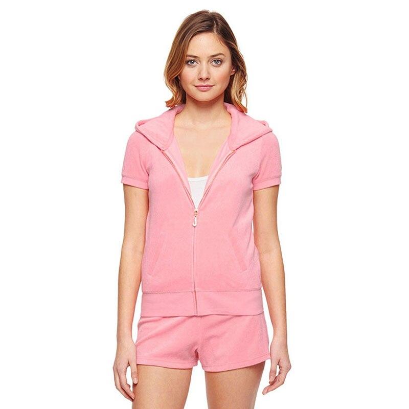 Senhoras Novo Hoodie Moda Magro Cintura Alta Shorts Casuais Verão Algodão Roupas Esportivas Elástica Rosa