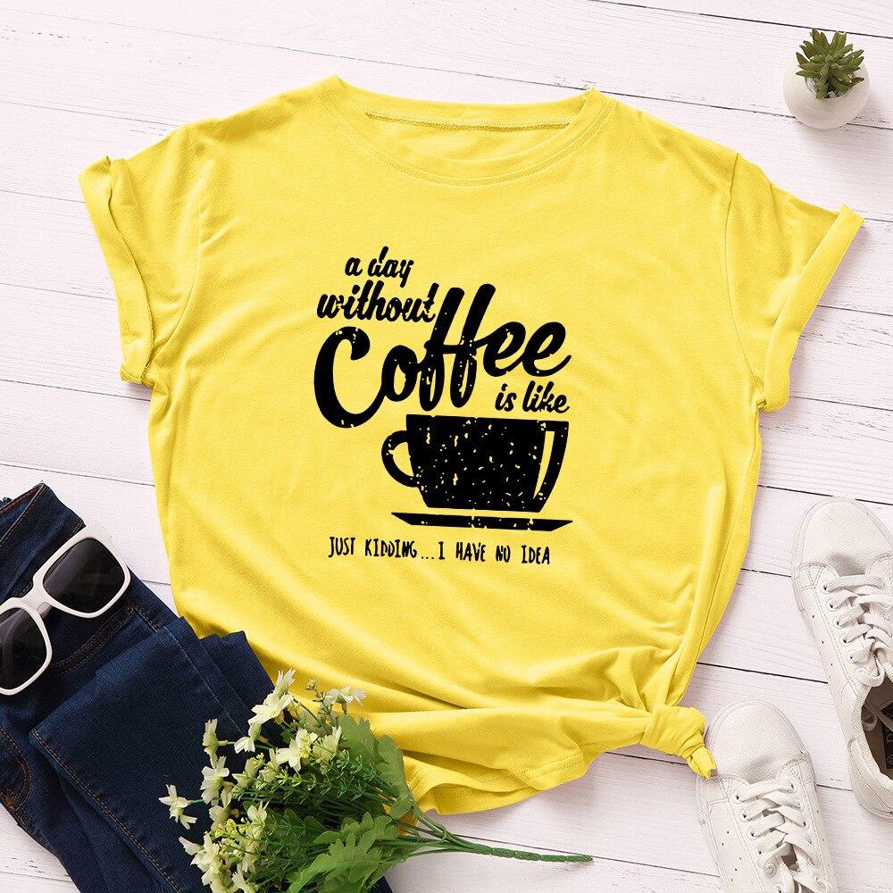 Camiseta de día sin estampado de café para Mujer, blusa holgada de...