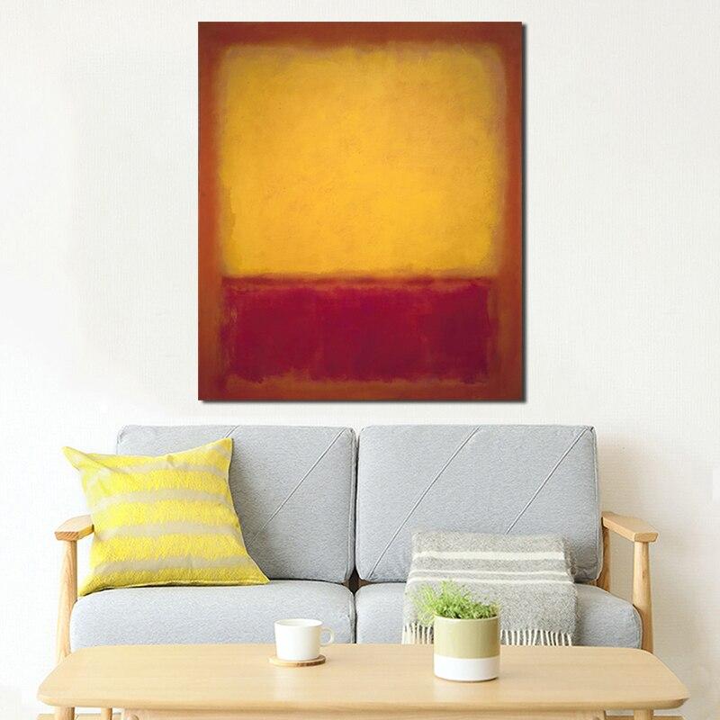 Marcador rothkoes ocre e vermelho na arte vermelha cartaz da lona pintura a óleo imagem da parede impressão moderna casa quarto decoração arte hd