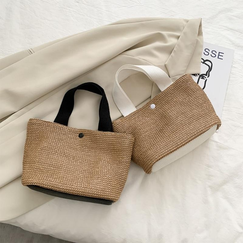 Womens Retro Elegant Ladies Straw Large Capacity Handbag Fashion Summer Beach Holiday Vacation Woven Top-Handle Bag