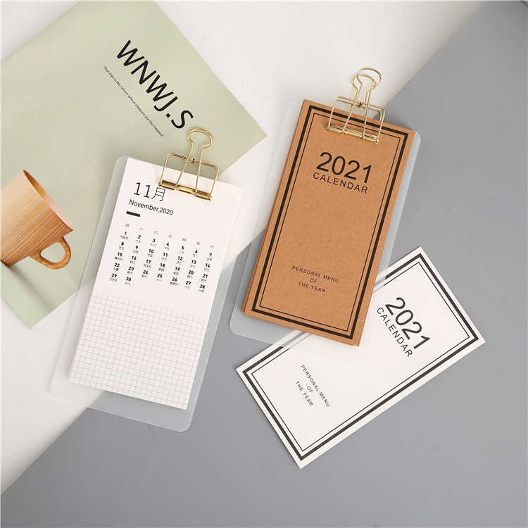 2021 New Simple Creative White Leather Color Series Wall Calendar Planner Dual Schedule Annual Agenda Schedule Organizer Office