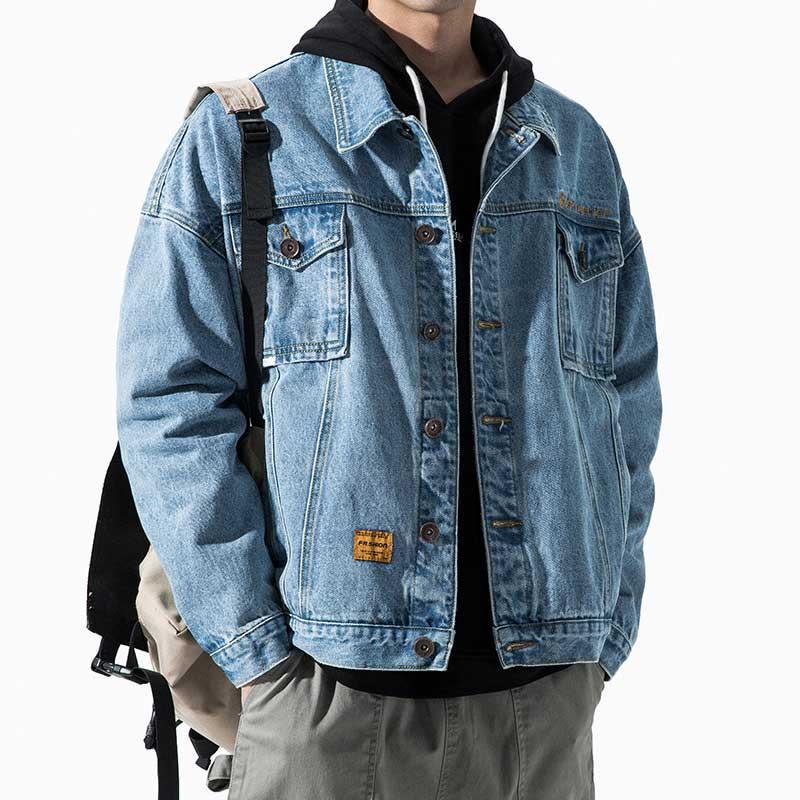 Джинсовые куртки, мужские пальто на весну и осень, повседневные брендовые классические черные мужские куртки для инструментов, стильные тр...