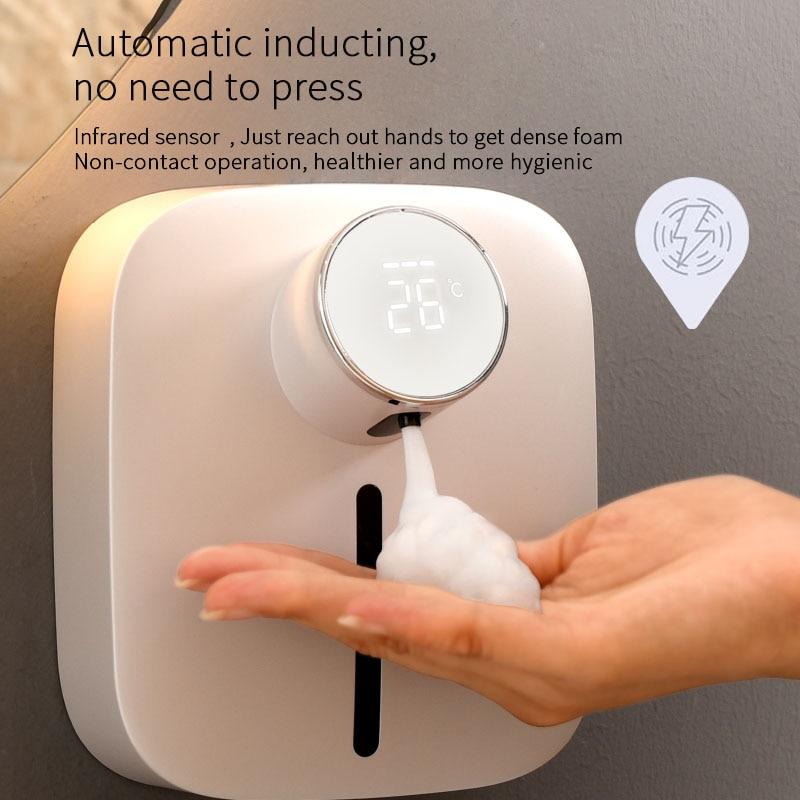 رغوة الصابون موزع شاومي قابلة للشحن مع عرض درجة الحرارة Touchless الاستشعار الذكية اليد المطهر آلة للحمام