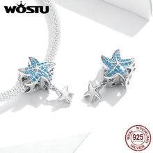 925 argent Sterling bleu AAA Zircon océan étoile de mer pendentif perles WOSTU nouveauté argent breloques idéal pour bracelet bijoux FNC252