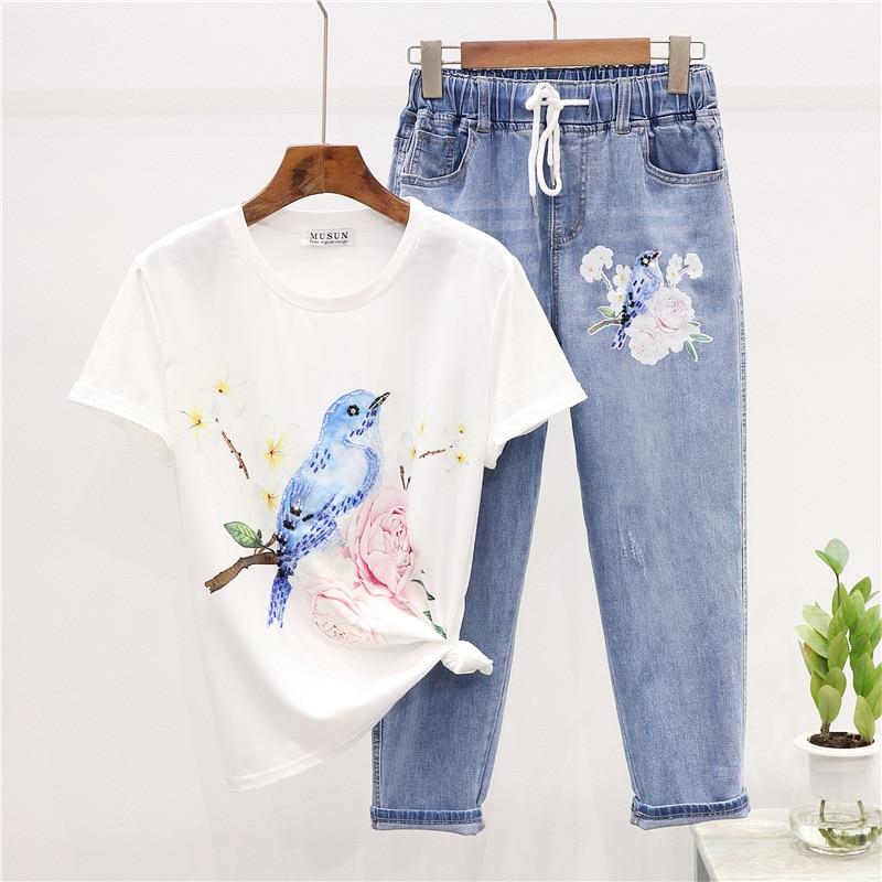 2020 Summer New Women Fashion Diamond Embroidery Flowers and birds print T shirt + Elastic waist Jeans two piece set women H082