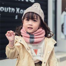 Toddler Girls Boys Knitted Scarf Kids Stripe O-Ring Children's Scarves Neckerchief Neck Circle Warm