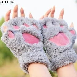 Luvas sem dedos do inverno das senhoras das luvas do sexo feminino das luvas macias metade cobertas das mulheres, luva macia da pata do luxuoso do gato do urso metade do dedo