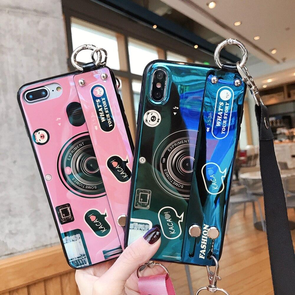 Bluray Câmera coque para huawei P inteligente P30 lite P20 pro Nova 5i 3i 4 Y9 Y6 Y7 Suave silicone caso 3D brinquedo Dos Desenhos Animados suporte de Pulso banda