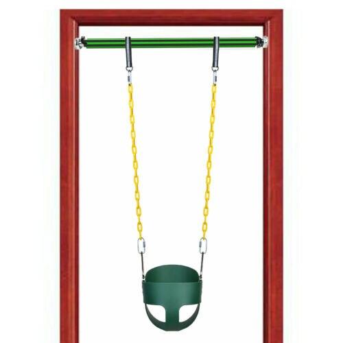 Espalda alta, cubo completo, niño, asiento columpio, conjunto con cadenas y barra de soporte interior