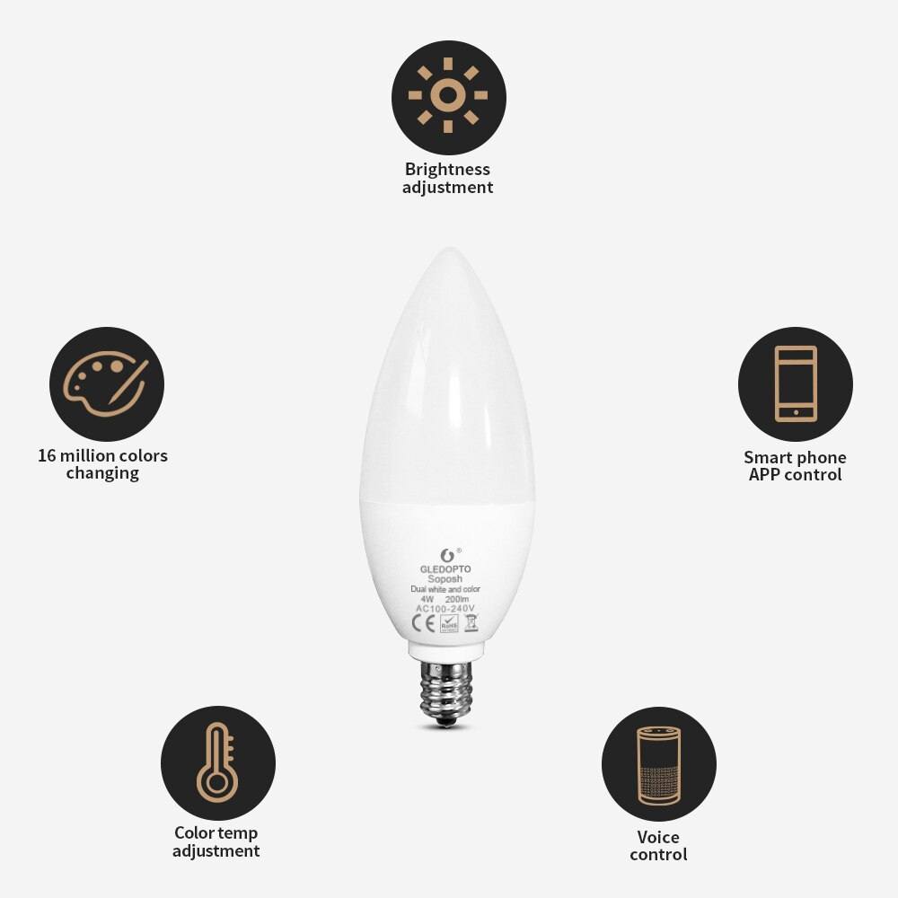 GLEDOPTO Zigbee 4PCS LED Candle Light RGBCCT Color Warm Cold White Light Bulb Hub APP Voice Control Bulb Home Decor enlarge