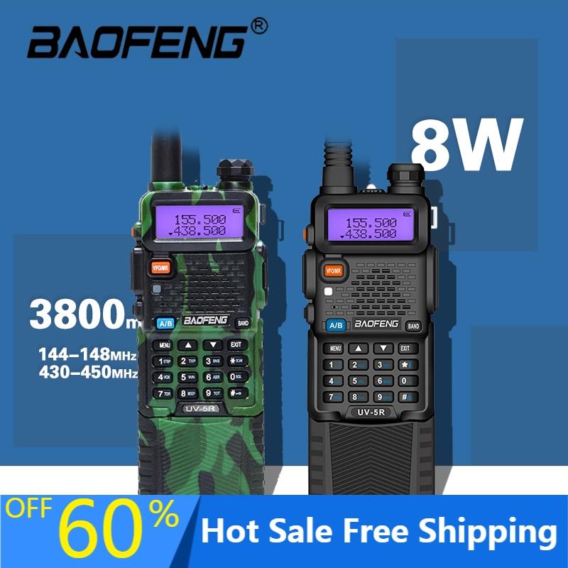 Real 8W Baofeng UV5R Walkie Talkie 10Km Two-Way Radio hunting Radio uv 5r Baofeng Ham Radio UV5R  Fm Transceiver Amateur Radio kobramax radio