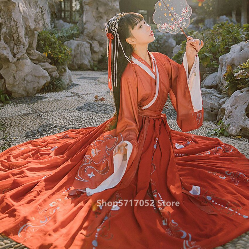 Antigo traje feminino vintage bordado jin dinastia fada hanfu folclórica chinesa dança vestido elegante princesa festival outsuits