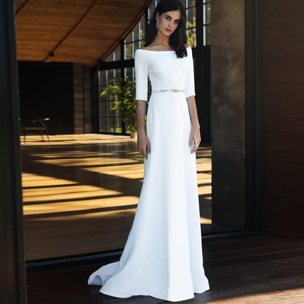 Get Classic Elegant Wedding Dresses A-Line Floor-Length Boat-Neck Draped 2021 New Bridal Gowns Simple Court Wedding Dress Cheap