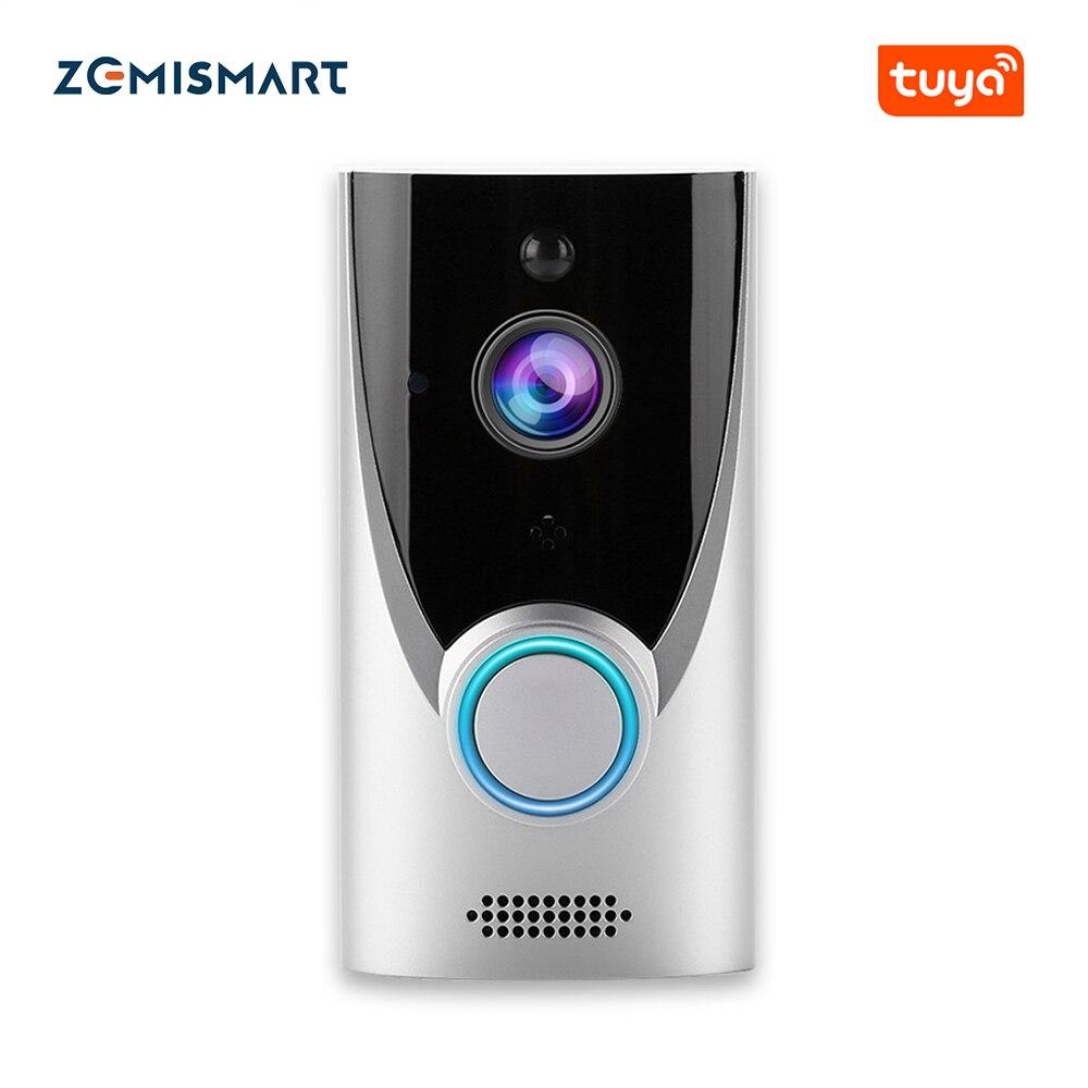 Zemimart Tuya WiFi 1080P sonnette vidéo intelligente batterie installée interphone vidéo sans fil enregistrement à distance caméra de Vision nocturne