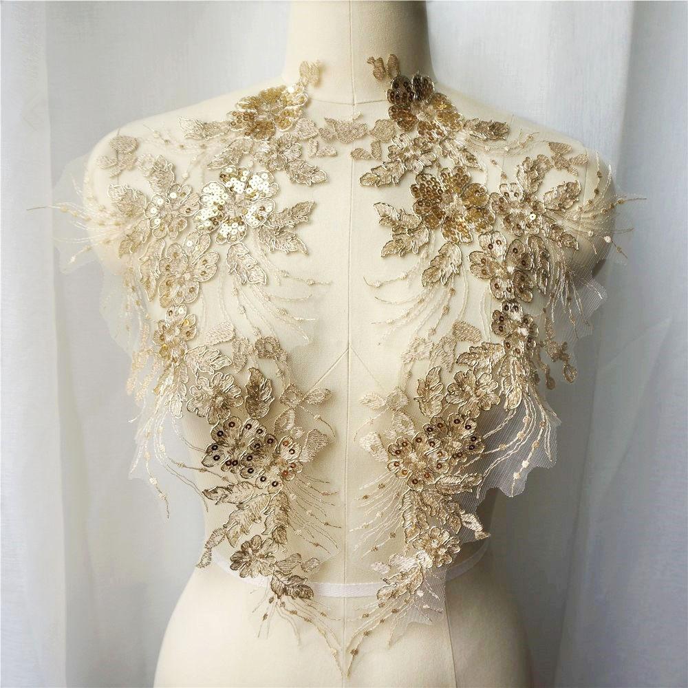 Lentejuelas doradas de 2 Uds., apliques de borla de flores vestido de novia, tela de encaje bordado, adornos de cuello de malla para coser parche para vestido DIY Decorat