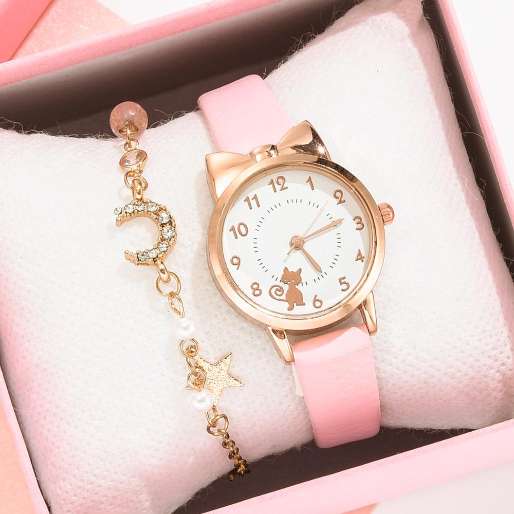 Fashion Women Watches Cat Pattern Leather Ladies Wrist Watches Dress Students Children Pink Watch Girl Gift Clocks Montre Femme