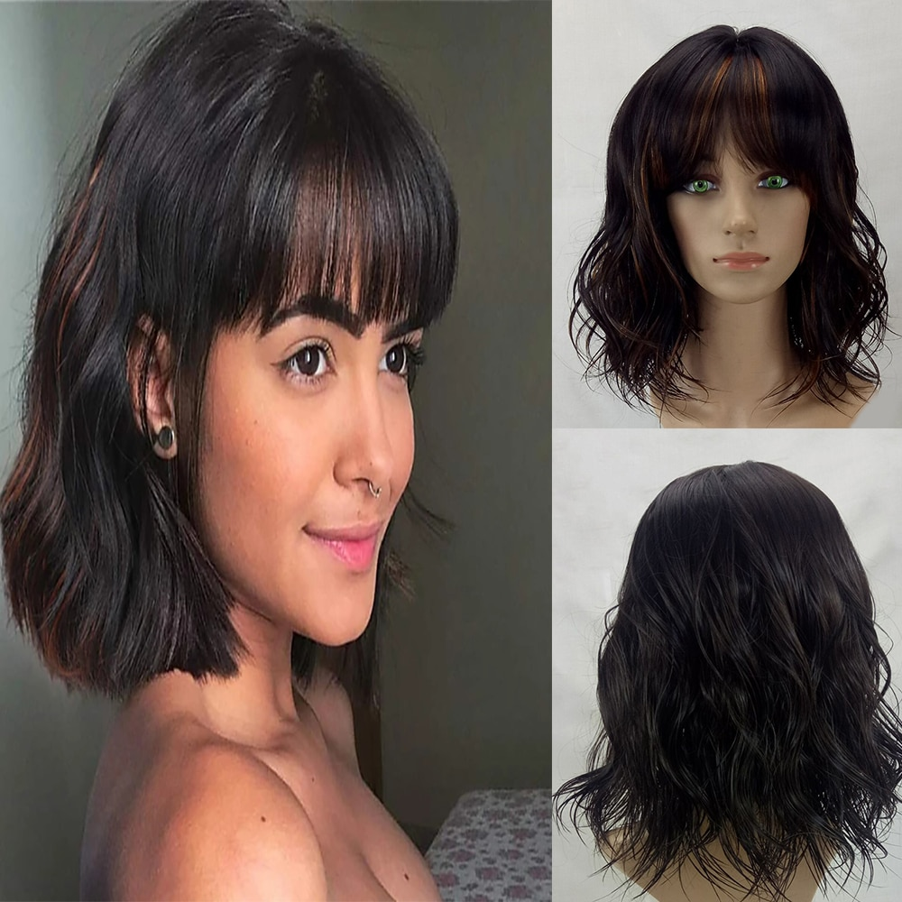 HAIRJOY Women Synthetic Hair Wigs Short Curly Bob Wig with Bangs Heat Resistant Fiber