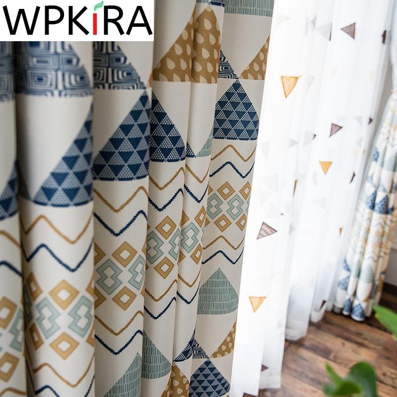 ستائر ظل هندسية كرتونية لغرفة نوم الأطفال ، نافذة غرفة المعيشة ، مثلثات عصرية ، تول مطرز WP089 & 3
