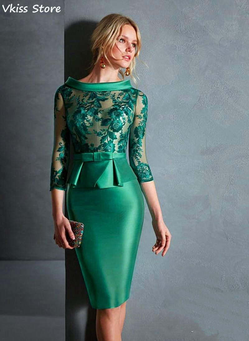 2021 Mother Of The Bride Dresses Sheath Knee Length Lace Short For Weddings Formal Dress Illsuion Elegant платье с блестками