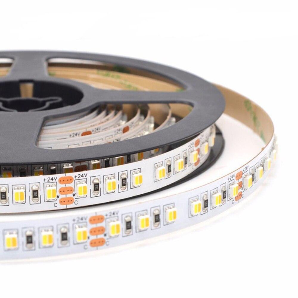 2 kolory w 1 LED SMD 3528 LED Strip CRI90 CCT WW 2700k + CW6000k DC24V regulowany CCT LED light strip120led/m LED elastyczny pasek