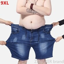 Extra large size men's denim shorts oversized men's elastic waist knee length summer loose shorts men plus size 9XL 8XL 7XL 6XL